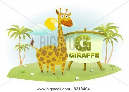 Funny Cartoon Alphabet G With Giraffe