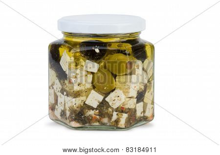 Glass Jar With Fitaki Cheese In Oil And Olives