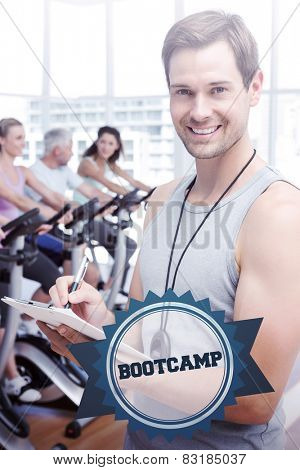 The word bootcamp and trainer with people working out at spinning class against badge
