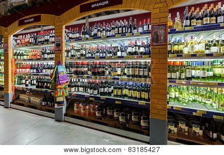 Showcase Alcoholic Beverages At The Hypermarket Metro