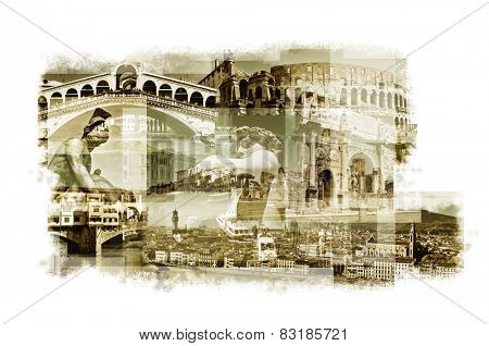 multiple exposures of different italian landmarks such as the Rialto Bridge in Venice, the Coliseum in Rome or the Ponte Vecchio in Florence