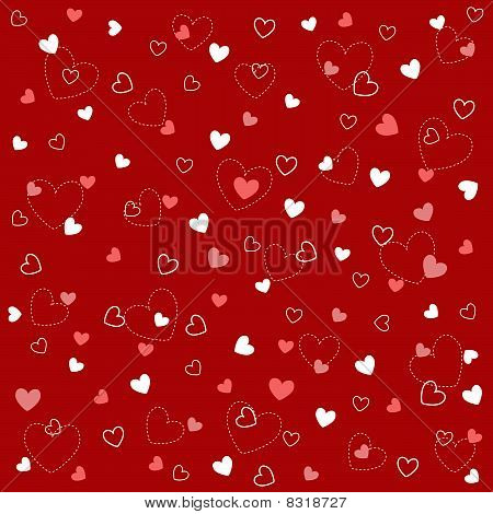 seamless red heart pattern with fabric texture