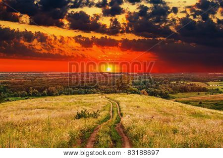 road landscape sunset summer nature field sky