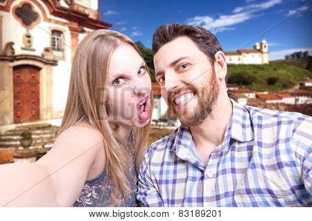 Beautiful Couple taking a selfie photo in Ouro Preto, Brazil