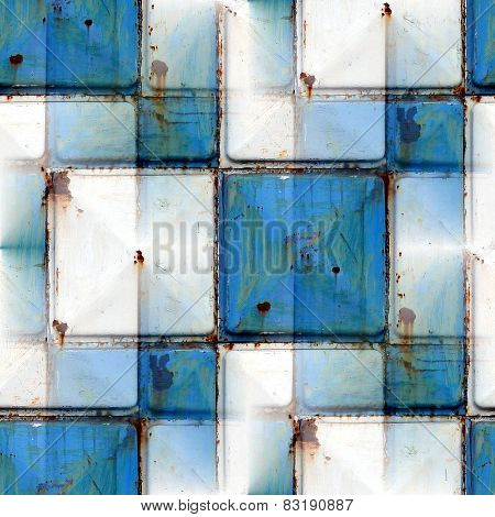 seamless background with blue iron rust square