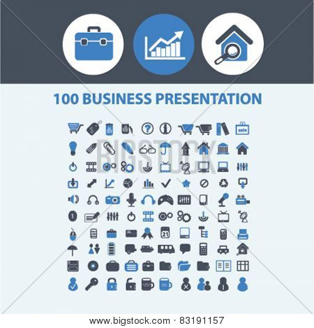 100 business, presentation, office, work, marketing, management isolated flat icons, signs, symbols illustrations, images, silhouettes on background, vector