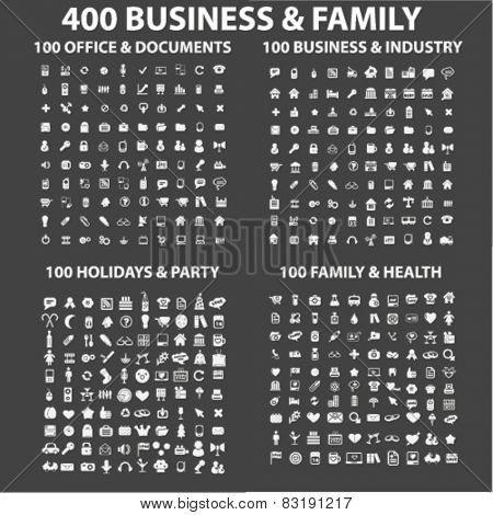 400 business, family, holidays, health, industry, office, travel, vacation, social media isolated flat icons, signs, symbols illustrations, images, silhouettes on background, vector