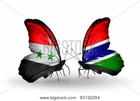 Two Butterflies With Flags On Wings As Symbol Of Relations Syria And Gambia