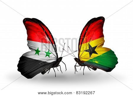 Two Butterflies With Flags On Wings As Symbol Of Relations Syria And Ghana