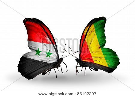 Two Butterflies With Flags On Wings As Symbol Of Relations Syria And Guinea