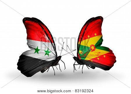 Two Butterflies With Flags On Wings As Symbol Of Relations Syria And Grenada