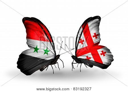 Two Butterflies With Flags On Wings As Symbol Of Relations Syria And Georgia