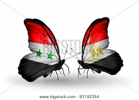 Two Butterflies With Flags On Wings As Symbol Of Relations Syria And Egypt