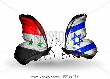 Two Butterflies With Flags On Wings As Symbol Of Relations Syria And Israel