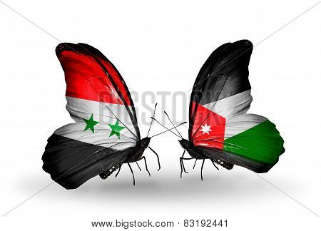 Two Butterflies With Flags On Wings As Symbol Of Relations Syria And Jordan