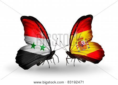 Two Butterflies With Flags On Wings As Symbol Of Relations Syria And Spain