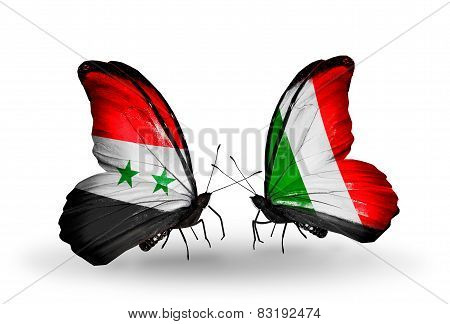 Two Butterflies With Flags On Wings As Symbol Of Relations Syria And Italy