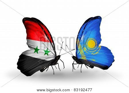 Two Butterflies With Flags On Wings As Symbol Of Relations Syria And Kazakhstan