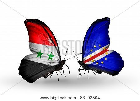 Two Butterflies With Flags On Wings As Symbol Of Relations Syria And Cape Verde