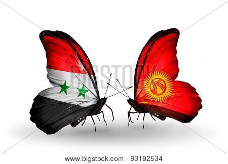 Two Butterflies With Flags On Wings As Symbol Of Relations Syria And  Kirghiz