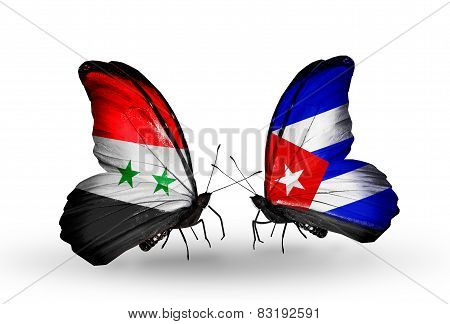 Two Butterflies With Flags On Wings As Symbol Of Relations Syria And Cuba