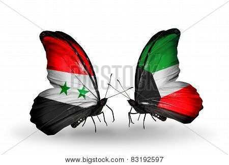 Two Butterflies With Flags On Wings As Symbol Of Relations Syria And Kuwait