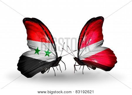 Two Butterflies With Flags On Wings As Symbol Of Relations Syria And Latvia