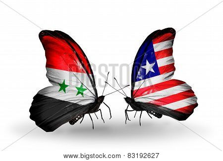 Two Butterflies With Flags On Wings As Symbol Of Relations Syria And Liberia
