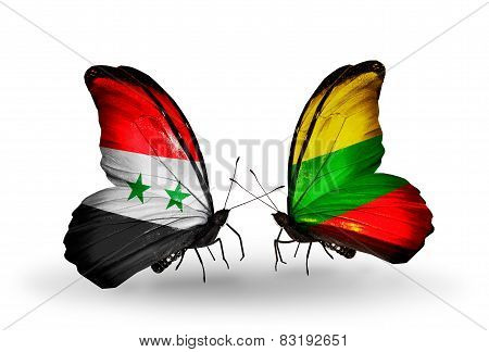 Two Butterflies With Flags On Wings As Symbol Of Relations Syria And Lithuania