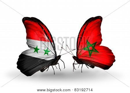Two Butterflies With Flags On Wings As Symbol Of Relations Syria And Morocco