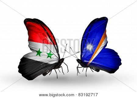Two Butterflies With Flags On Wings As Symbol Of Relations Syria And Marshall Islands