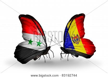 Two Butterflies With Flags On Wings As Symbol Of Relations Syria And Moldova