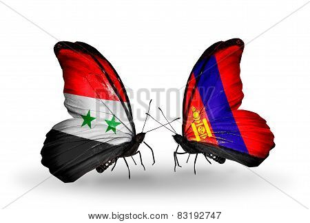 Two Butterflies With Flags On Wings As Symbol Of Relations Syria And Mongolia