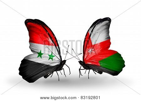 Two Butterflies With Flags On Wings As Symbol Of Relations Syria And Oman