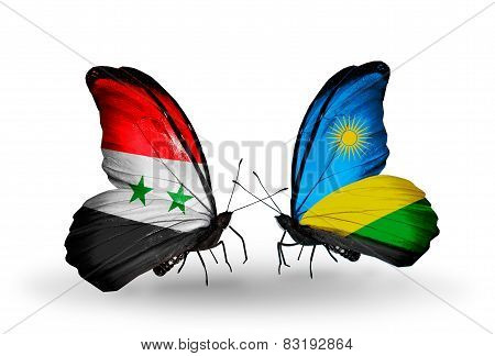 Two Butterflies With Flags On Wings As Symbol Of Relations Syria And Rwanda