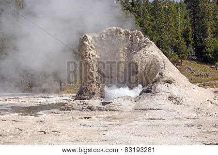 Limestone Cone Of An Active Geyser