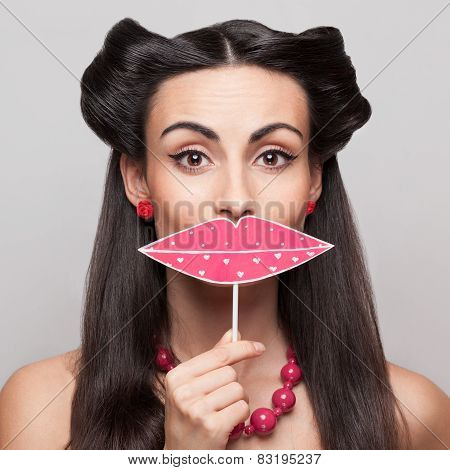 Pinup Girl Holding Big Pink Lips Sign