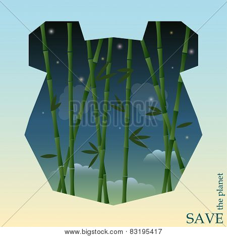 Bamboo On The Night Sky Background In Silhouette Of Panda