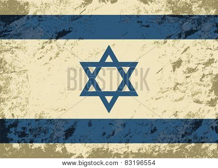 Israeli flag. Grunge background. Vector illustration