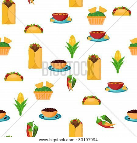 Seamless backgound with cartoon mexican food
