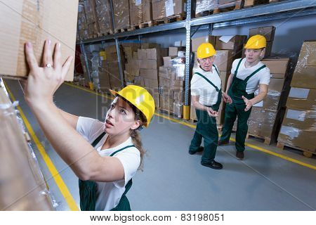 Woman In Warehouse