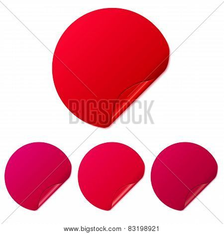 Set of red round stickers. Vector Illustration.