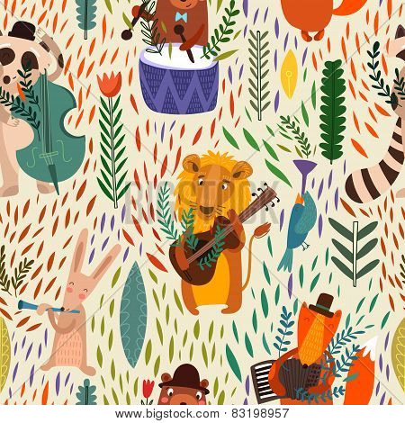Cartoon  Concept Wallpaper. Raccoon, Lion, Bear, Hare, Rabbit And Fox Playing On Musical Instruments