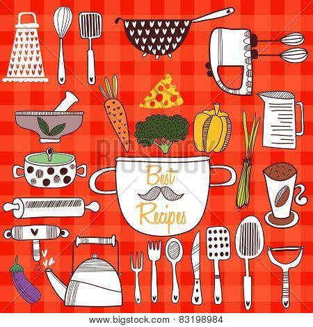 Best Recipes-set Of Kitchen Tools On Cconcept Background. Vector Illustration Of Kitchen Doodles Col