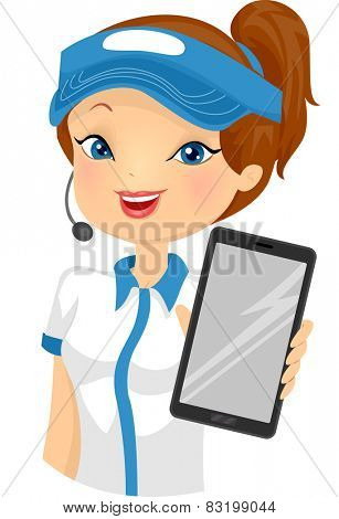 Illustration of a Female Fast Food Attendant Holding a Computer Tablet