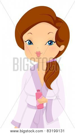 Illustration of a Girl in a Spa Wearing a Standard Bathrobe