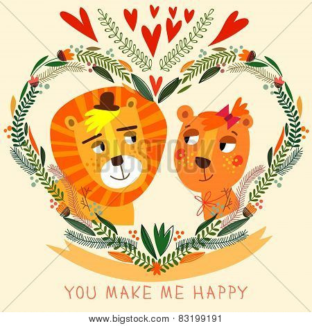 You Make My Happy Card In Bright Colors. Cute Couple Of  Lion With Flowers In Cartoon Style.romantic