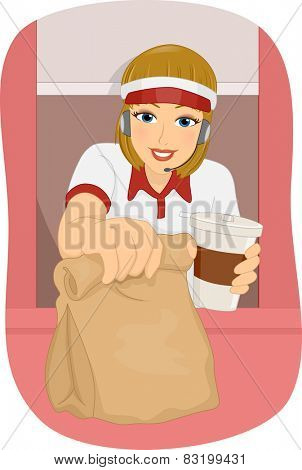 Illustration of a Female Fast Food Attendant Manning the Drive Thru Booth
