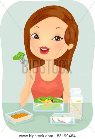 Illustration of a Woman Eating a Healthy Meal Pack