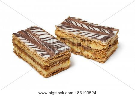 Moroccan mille feuille pastries on white background
